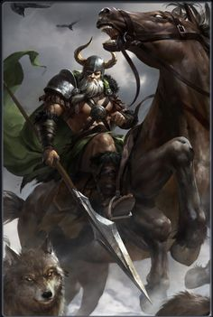 Dioses&Heroes~ Odin, Sleipnir, Freki, Geri, Huginn and Muninn Odin Norse Mythology, Norse Pagan, Old Norse, Viking Warrior, Art Viking, Dark Fantasy Art, Fantasy Kunst, Odin And Thor, Symbole Viking