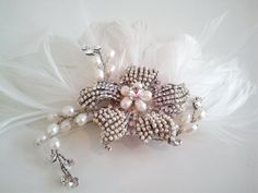 beaded feather bridal hair comb