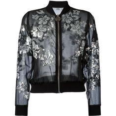 Gcds Flower Printed Bomber Jacket ($395) ❤ liked on Polyvore featuring outerwear, jackets, black, flower print bomber jacket, floral print jacket, flower jacket, sequin jacket and bomber style jacket