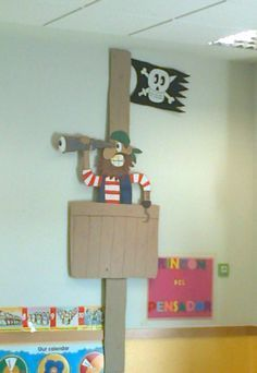 (Overlapping and painted cardboard) - - Pirate Halloween, Pirate Day, Pirate Birthday, Pirate Theme, Decoration Pirate, Decoration Creche, Deco Pirate, Pirate Activities, Diy And Crafts