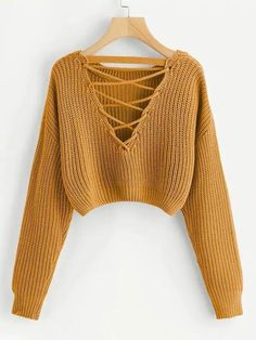 Shop Lace-Up V Back Crop Jumper online. SHEIN offers Lace-Up V Back Crop Jumper & more to fit your fashionable needs. Girls Fashion Clothes, Teen Fashion Outfits, Girl Outfits, Crop Pullover, Cropped Sweater, Cropped Jumpers, Cool Jumpers, Sweater Shirt, Grunge Look