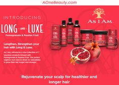 New As I Am Long & Luxe Collection at aonebeauty.com Free shipping to Canada $49 Order / Free sample pack with every order #asiam #beauty #pomegranate #new #freeshipping #freesample
