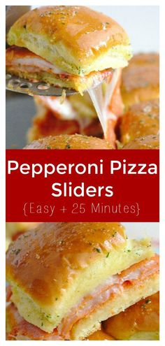 Pepperoni Pizza Sliders - A quick and easy dinner or appetizer that takes less than 30 minutes! Pepperoni, mozzarella, and marinara sauce in individual sliders rolls.  This is the ultimate recipe for pizza fans! Slider Recipe | Pepperoni Pizza Recipe | Pizza Appetizer #pizza #appetizer #recipe #easyrecipe