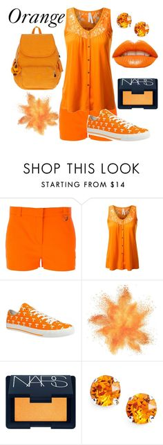 """""""Orange"""" by slytherinprincess1904 ❤ liked on Polyvore featuring Versace, NARS Cosmetics, L. Erickson and Kipling"""