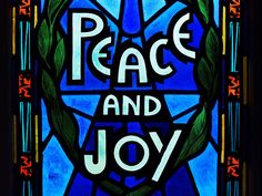 Peace and Joy by Zinvolle - Painted window in Gower Street United Church, Newfoundland, Canada. Hope we all can find our peace and joy. Newfoundland Canada, Objects, Window, The Unit, Neon Signs, Joy, Peace, Wall Art, Street