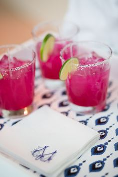 Love the color of the prickly pear margaritas agains tthe white and blue bar tray. Must try to replicate this!