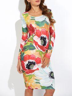 Floral Print Slimming Long Sleeve Dress 9.82 USD