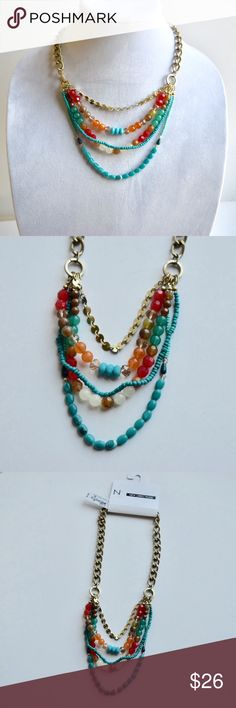"""Colorful Multilayer necklace NWT. Colorful Multilayer necklace with gold hard ware. Lobster clasp closure. Layer are approximately 16-18"""" in length with an extension chain to adjust length. If you have questions comment below. new directions Jewelry Necklaces"""