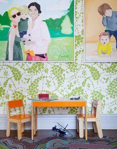 Wallpaper: China Seas Lysette, Art by Scarlett Baily - Lonny Green Wallpaper, Print Wallpaper, Playroom Wallpaper, Playroom Art, Deco Design, Kid Spaces, Play Spaces, Wall Treatments, Illustrations