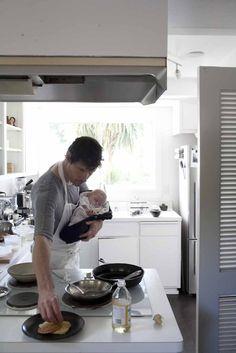 man + baby + cook = love