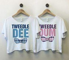 Tweedle Dee Bow - Bestie Shirts - Ideas of Bestie Shirts - Tweedle Dee and Tweedle Dum Tees Best Friend Matching Shirts Best Friend Matching Shirts, Best Friend T Shirts, Best Friend Outfits, My Best Friend, Best Friend Clothes, Best Friend Sweatshirts, Bff Shirts, Disney Shirts, Culottes