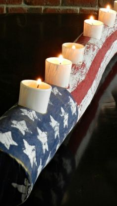 American Flag Candle Log