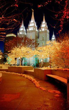 Temple Square Christmas lights, Salt Lake City, Utah