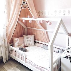Hausbett mit Giebel seitlich, Flachsprossen Nature Kid house bed made of pine with a sweet railing – Wallenfels Onlineshop Baby Bedroom, Baby Room Decor, Girls Bedroom, Master Bedroom, Little Girl Bedrooms, Big Girl Rooms, House Beds For Kids, Kid Beds, Toddler Rooms