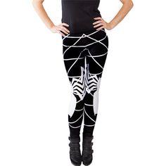 Black Ladies White Spider Printed Leggings (€10) ❤ liked on Polyvore