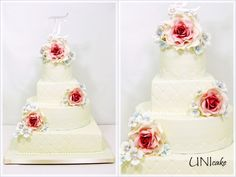 H23.  Hääkakku ruusuilla.  Wedding cake with roses