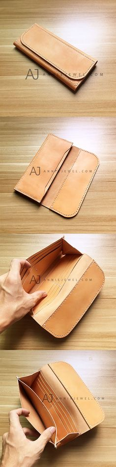 MINIMAL! HANDMADE LEATHER FOLDED WALLET VINTAGE LONG WALLET CLUTCH PHONE PURSE WALLET FOR WOMEN MEN