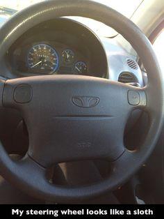 steering wheel looks like a sloth