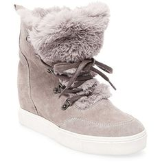 Steve Madden Lift Round Toe Faux Fur Ankle Boots (11600 RSD) ❤ liked on Polyvore featuring shoes, boots, ankle booties, grey, laced up ankle boots, lace up boots, lace up ankle boots, faux fur booties and grey boots