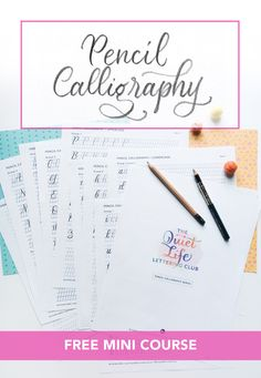 The Quiet Life Lettering Club is a email workshop on pencil calligraphy. It is design to help you gain mindfulness by practicing hand-lettering Beginning Calligraphy, Basic Calligraphy, Calligraphy Course, Pencil Calligraphy, Calligraphy Doodles, Calligraphy For Beginners, Calligraphy Tutorial, Lettering Tutorial, Calligraphy Alphabet