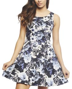 This absolutely beautiful, romantic and ultra feminine tank dress features floral printed woven body with a full flared skater skirt, ruched waist, princess seams, and a back open keyhole with a button and zipper closure #WetSeal