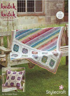 Stylecraft Batik & Batik Elements DK Crochet Pattern 9448 Blanket & Cushion Crochet Ideas, Wow Products, Knit Crochet, Cushions, Wool, Blanket, Knitting, Design, Tricot