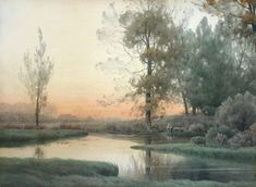 Sunset Glow by Henry Farrer (late 1800s) The Cooley Gallery