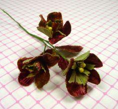 Velvet Millinery Flowers Rust Green Fall Autumn by APinkSwan Koruny 3cd3178e9d3