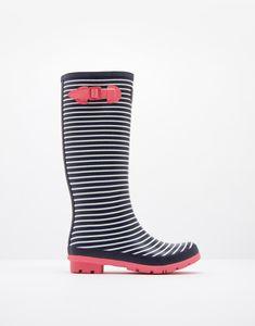 Printed Navy Mini Stripe Rain Boots  | Joules US