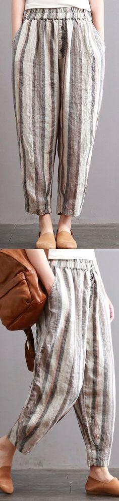 3683a05b405 New vintage cotton linen women pants plus size elastic waist crop harem  pants