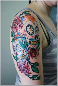 150 Greatest Day of the Dead Tattoos nice  Check more at http://fabulousdesign.net/day-of-the-dead-tattoos/