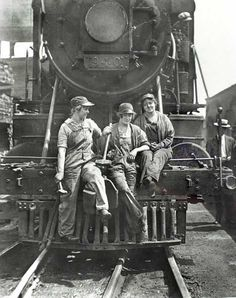 Women railroad workers.