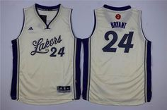 Youth Los Angeles Lakers #24 Kobe Bryant White 2015-2016 Christmas Day Jersey