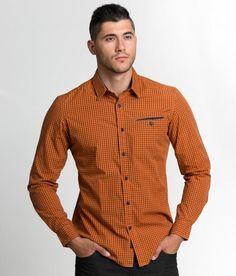 Мъжка риза с дълъг ръкав в десен тъмно оранжево. Спортна риза #shirts Shirt Dress, Mens Tops, Shirts, Clothes, Dresses, Fashion, Outfits, Vestidos, Moda