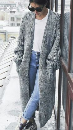 70 Ideas For Knitting Patterns Chunky Cardigan Yarns Cardigan Outfits, Cardigan Fashion, Knit Fashion, Woman Fashion, Fashion Outfits, Girl Outfits, Sweater Coats, Sweater Cardigan, Chunky Knitting Patterns