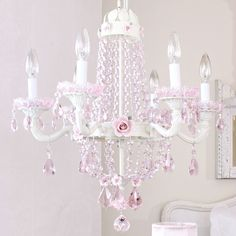 Best Lighting And Chandeliers Images On Pinterest Crystal - Chandelier crystals pink