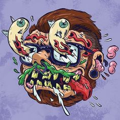 jgillustration:  Self-Portrait of the Artist as a MadBall Colored!   Check out this painful(ly awesome) drawing that Jimmy Giegerich did of himself as a Madball! Keep an eyeball out for his Madballs backup comic and variant cover, coming in issue #2 in May!