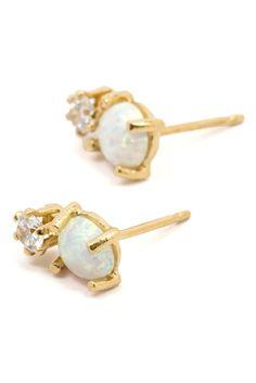 Opal + Diamond Dublet Studs