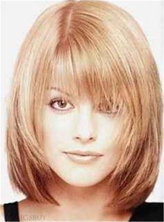 IDEA FOR HAIRCUT---- Sweet Shaggy Bob Medium Straight Synthetic Hair With Bangs Capless Wig 12 Inches