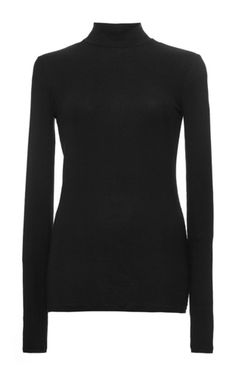 Black Micro Modal Mock Neck Top by ATM Now Available on Moda Operandi