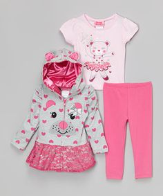 This Gray & Pink Bear Zip-Up Hoodie Set - Toddler by Young Hearts is perfect! #zulilyfinds