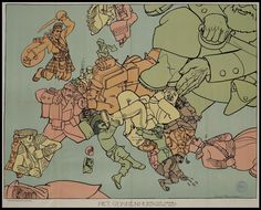 "Satirical map of World War I in Europe - ""Het Gekkenhuis"" by Dutch cartoonist Louis Raemaekers, 1914 [1024x826]"