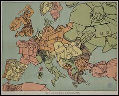 """Satirical map of World War I in Europe - """"Het Gekkenhuis"""" by Dutch cartoonist Louis Raemaekers, 1914 [1024x826]"""