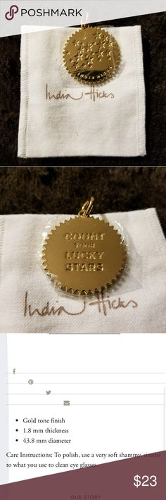 India Hicks Count Your Lucky Stars Gold Pendant A happy reminder for everyday wear that is shiny enough to pair with a simple black dress. At 1.5 inches in diameter is looks beautiful with a chain, string or leather cord. Brand new.  Still wrapped in it's factory vinyl protection. Gleaming finish. India Hicks Jewelry Necklaces