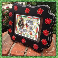 Christmas Schnauzers with Toys and Poinsettias by LoriBushArt #schnauzer #miniatureschnauzer