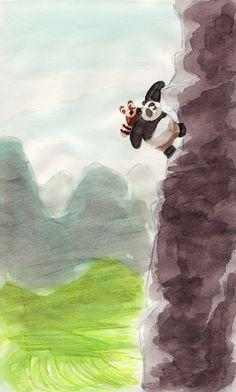 Kung Fu Panda - Po must climb the mountain. With Shifu on his back. #fanart