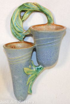 Roseville Pottery Velmoss II Blue Double Wall Pocket 1274 from Just Art Pottery