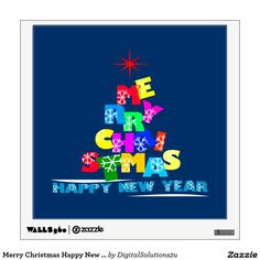 Merry Christmas Happy New Year Wall Sticker