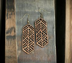 African Border Laser Cut Wood Earrings