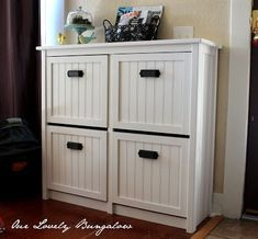 Schuh aufbewahrung revamp your IKEA Hemnes shoe storage with beadboard and black pulls for a more r. Storage Hacks, Diy Storage, Storage Ideas, Storage Bins, Ikea Shoe Storage, Storage Cubes, Clothing Storage, Ikea Bissa, Ikea Hemnes Shoe Cabinet